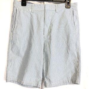 J CREW CLUB Seersucker Cotton Blue White Shorts 30